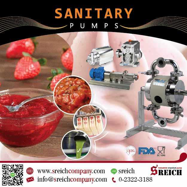 ปั๊มฟู้ดเกรด สำหรับดูดของเหลว ของหนืดผสมชิ้นเนื้อ Sanitary Pump
